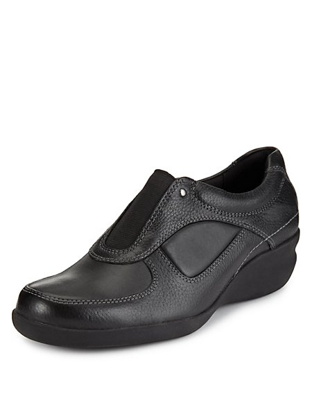 Leather Elasticated Panel Wide Fit Wedge Shoes