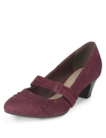 Suede Wide Fit Court Shoes with Stain Away™