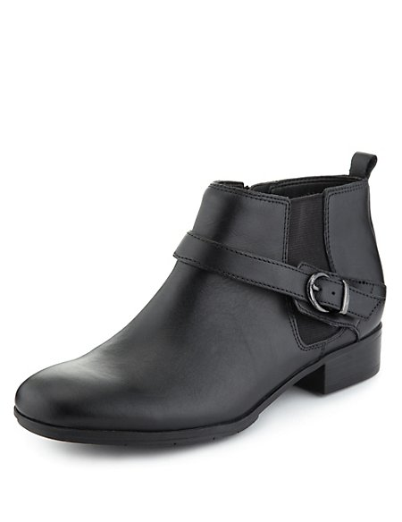 Leather Strap Chelsea Boots
