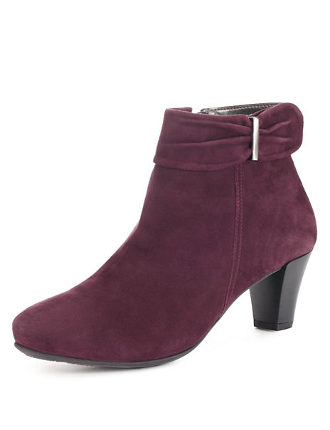 Suede Side Bow Ankle Boots with Stain Away™