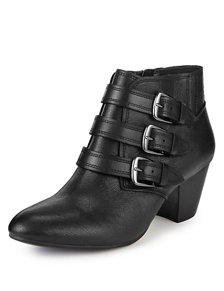 Leather Triple Buckle Ankle Boots