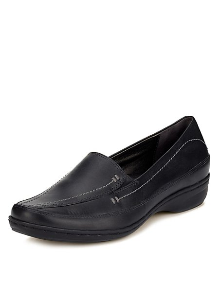 Leather Wide Fit Stitched Trouser Shoes