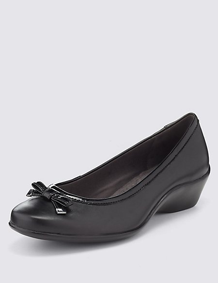 Bow Wedge Ballerina Shoes