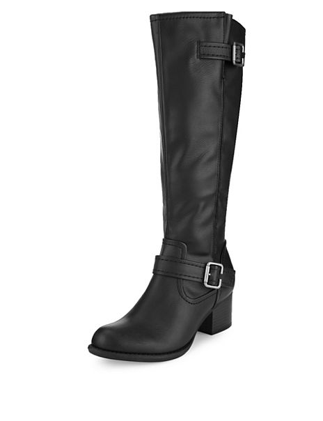 Stretch Zip Block Heel Strap Knee Boots with Insolia®