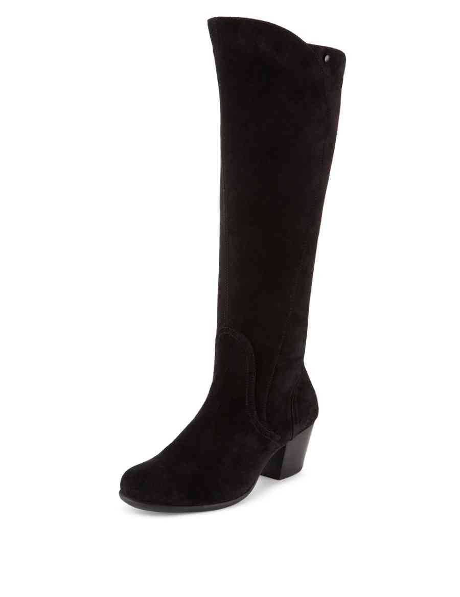 8e9d29cf31b Suede Wide Fit Knee Boots with Stain Away™