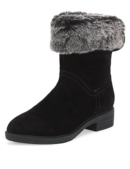 Leather Wide Fit Faux Fur Boots with Stain Away™