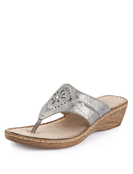 Leather Studded Toe Post Wide Fit Wedge Sandals