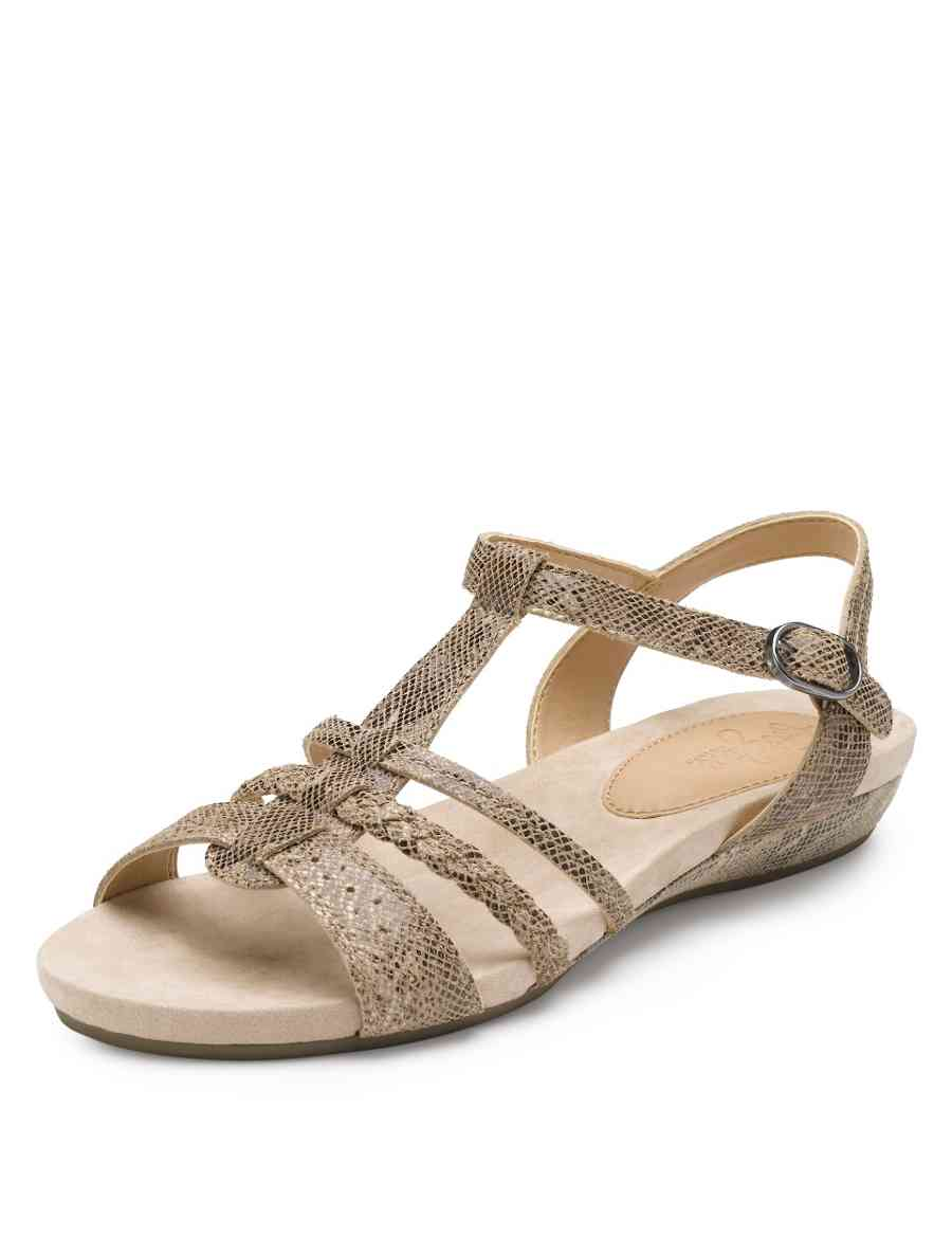 82f2c10d72d Leather Wide Fit Faux Snakeskin Print Gladiator Sandals