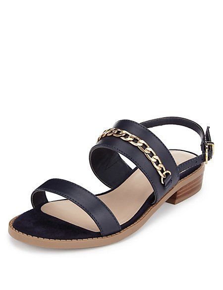 Leather Wide Fit Chain Trim Sandals