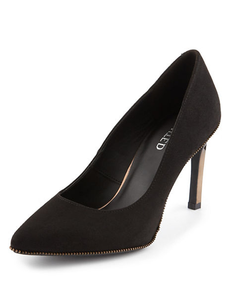 Pointed Toe Mock Suede Metal Heel Court Shoe with Insolia®