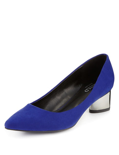 Mock Suede Metal Heel Court Shoes with Insolia®