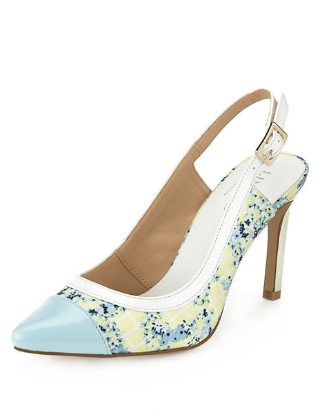 Pointed Toe Floral Slingback Shoes with Insolia®