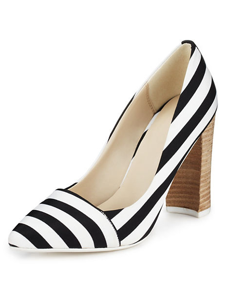 Angular Block Heel Striped Court Shoes with Insolia®