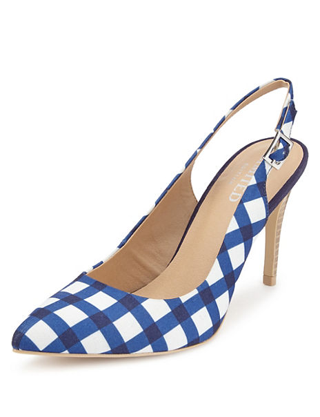 High Cut Checked Slingback Court Shoes with Insolia®