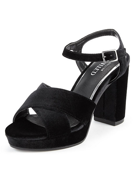 Crossover Platform Block Heel Sandals with Insolia®