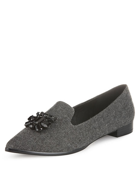 Gem Embellished Pointed Toe Flat Loafers with Insolia Flex®
