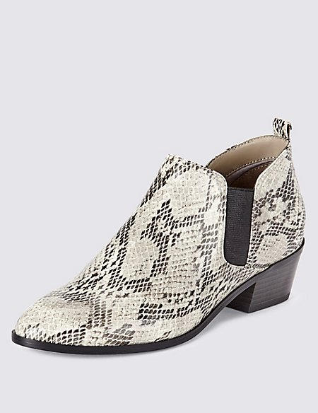 Faux Snakeskin Print Western Heel Chelsea Ankle Boots with Insolia®
