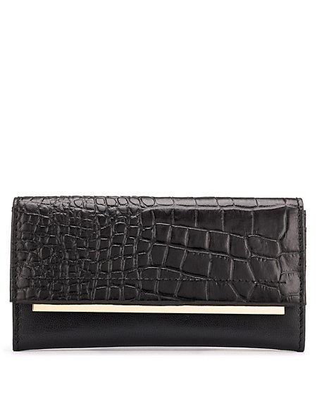 Leather Faux Crocodile Skin Design Purse