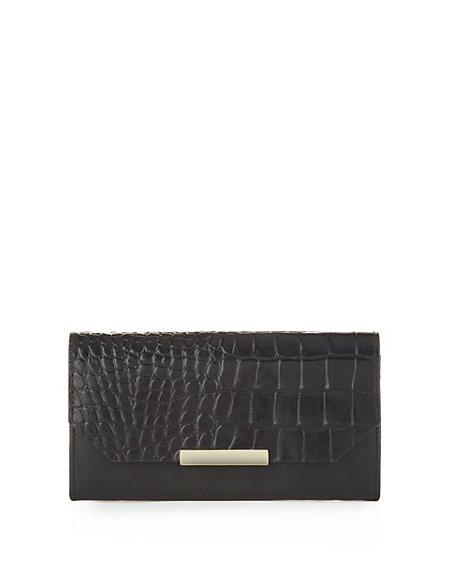 Leather Faux Crocodile Skin Design Purse with Cardsafe™