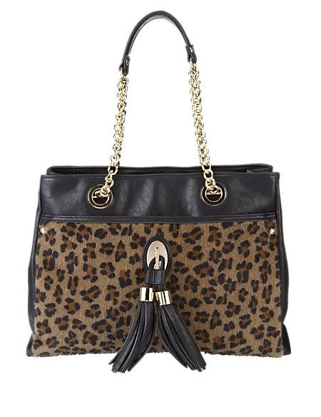 Leopard Print Tassel Tote Bag