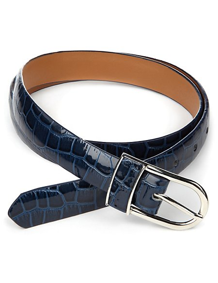 Inlay Buckle Animal Print Belt