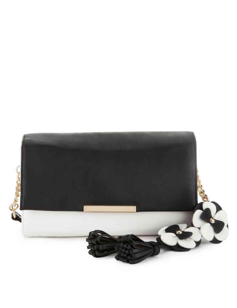 b6a8557250 Floral Appliqué   Tassel Charm Clutch Bag