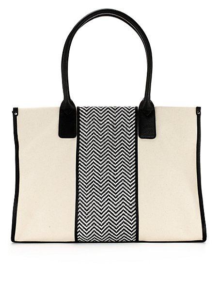 Pure Cotton Panelled Shopper Bag