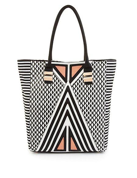 Diamond & Stripe Print Shopper Bag