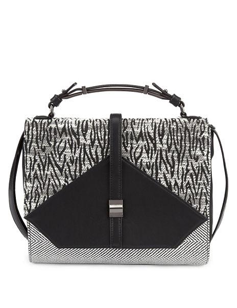 Top Handle Panelled Satchel Bag