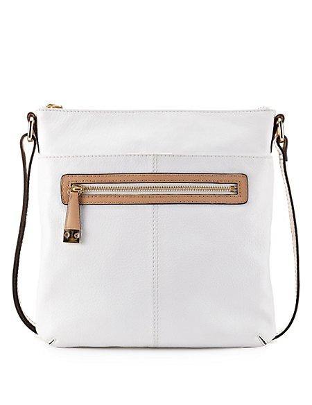Leather Front Zip Across Body Bag