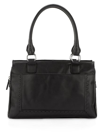 Leather Stab Stitch Tote Bag