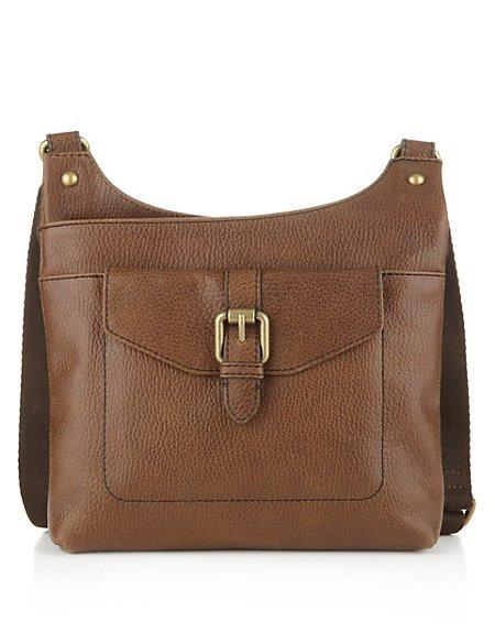 Leather Mini Buckle Cross Body Messenger Bag