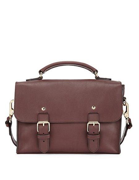 Best of British Leather Twin Buckle Satchel Bag