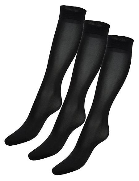3 Pair Pack 40 Denier Silky Soft Opaque Knee Highs