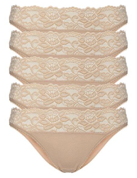 5 Pack Cotton Rich Lace Waist Bikini Knickers