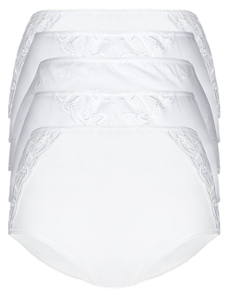 5 Pack Cotton Rich Embroidered High Rise Full Briefs