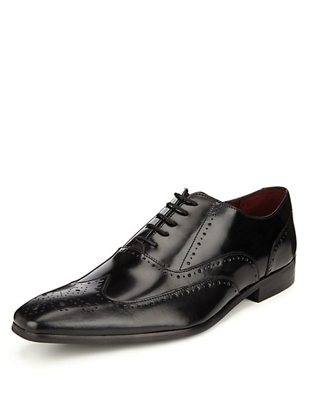 Leather Pointed Toe Brogue Shoes