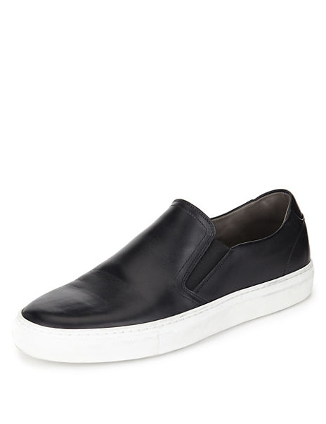 Leather Slip-On Trainers