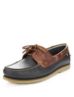 Leather Lace Up Boat Shoes   Blue Harbour   M S 457d214b2c5