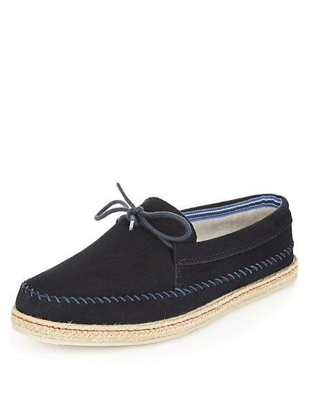 Suede Stitched Lace Up Espadrille