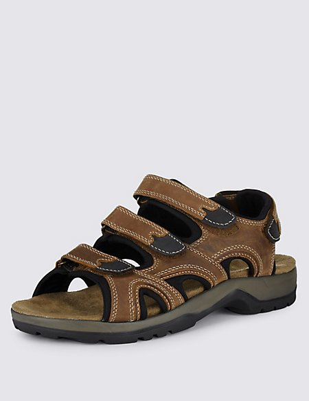 Leather 3 Strap Sandals