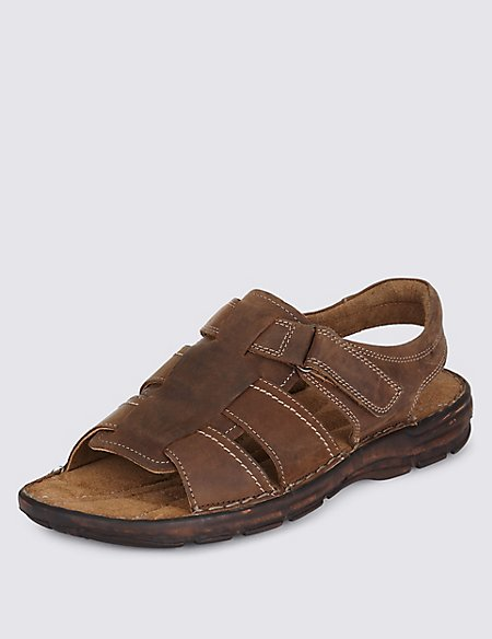 Leather Open Toe Fisherman Sandals