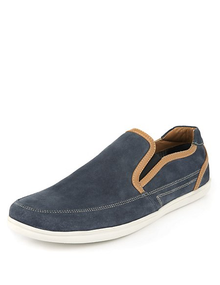 Waxy Leather Slip-on Trainers