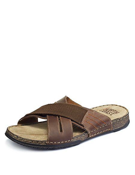 Leather Crossover Strap Mule Sandals