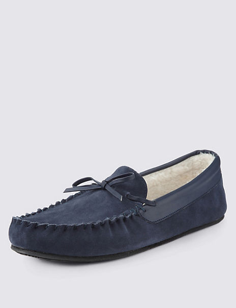 Freshfeet™ Suede Thinsulate™ Moccasin Slippers