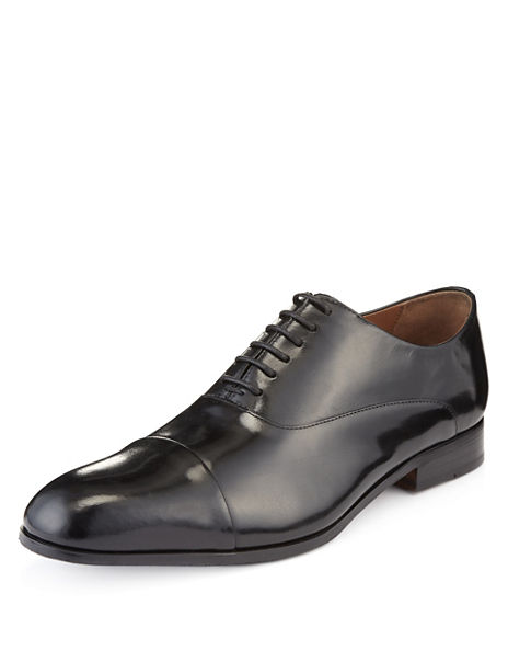 Big & Tall Leather Extra Wide Fit Plain Lace Up Shoes