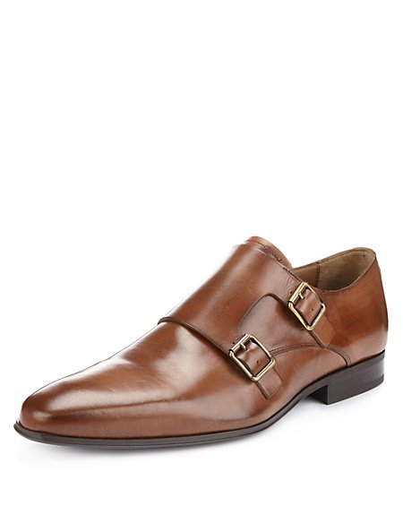 Leather Double Buckle Monk Shoes