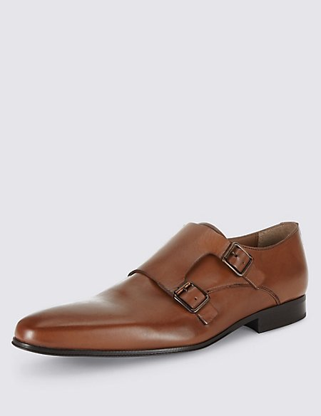 Leather Double Strap Monk Shoes