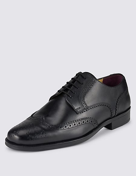 Marks and Spencer Leather Derby Brogue Shoes black Wide Range Of Online Perfect Cheap Price o21DHwNk