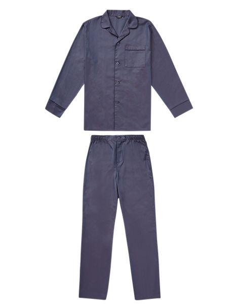 Slim Fit Supima® Cotton Herringbone Long Sleeves Pyjamas